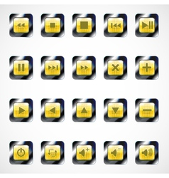 Set of glass square media buttons eps10 vector image