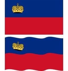 Flat and waving liechtenstein flag vector