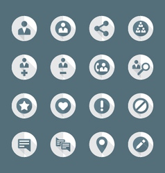Flat style various social network actions icons vector