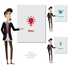 Creative man makes a presentation vector