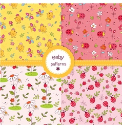 Set of cute kid seamless patterns vector