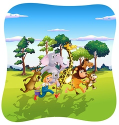 Animals and farmer running in nature vector image