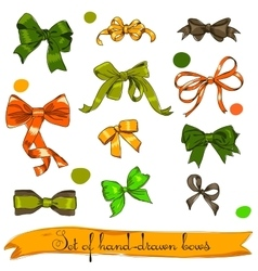 Set of vintage orange green and brown bows vector