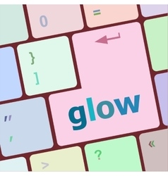 Glow word on keyboard key notebook computer vector