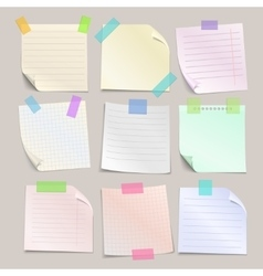 Stick note papers set vector