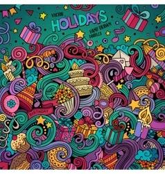 Cartoon hand-drawn doodles holidays vector image