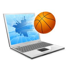 basketball ball laptop concept vector image vector image
