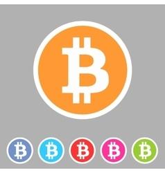 Bitcoin icon web sign symbol logo label vector image