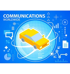 bright planet and car on blue background for vector image vector image