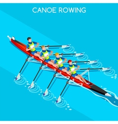 Canoe quadruple sculls 2016 summer games 3d vector