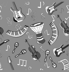 cartoon cute doodles hand drawn musical seamless vector image vector image