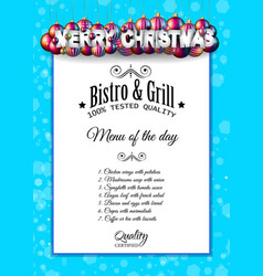 Christmas dinner or lunch restaurant menu template vector