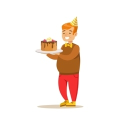 Chubby boy with big cake kids birthday party vector