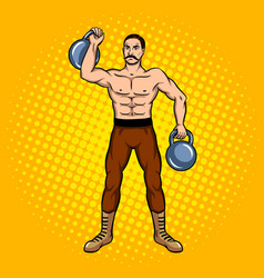 Circus strongman with dumbbell pop art vector