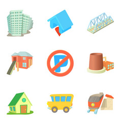 Condominium icons set cartoon style vector