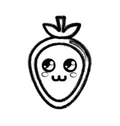 Contour kawaii nice thinking strawberry icon vector
