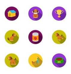 Dog equipment set icons in flat style Big vector image