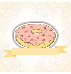 Donat invitation card vector