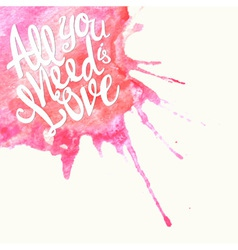 Doodle watercolor lettering symbol of love and vector
