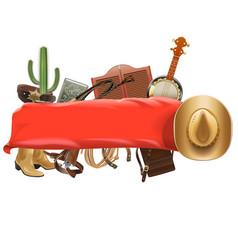 Festive cowboy banner vector