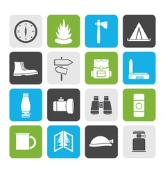 Flat tourism and holiday icons vector