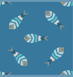 Flock of fish mosaic seamless pattern vector