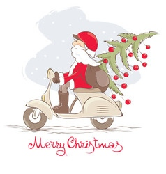 Funny Santa on a scooter vector image vector image