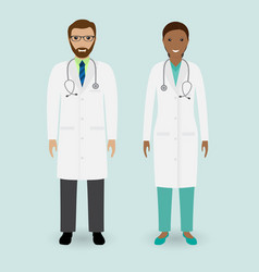 Hospital staff concept couple of man and woman vector