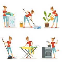 housewife make different domestic works mother vector image vector image