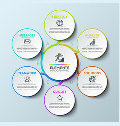 infographic design template circular chart with 6 vector image vector image