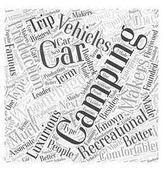 Makers of camping cars word cloud concept vector