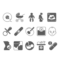 Medicine pregnancy and motherhood icons vector
