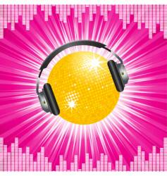 orange disco ball and headphones vector image vector image