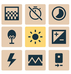 Photo icons set collection of mode accelerated vector