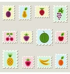 Postage stamps fruits set vector image