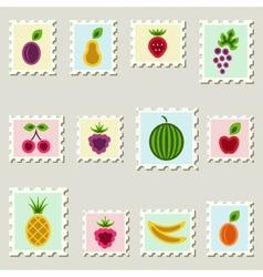 Postage stamps fruits set vector image