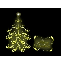 Postcard with golden Christmas tree EPS10 vector image vector image