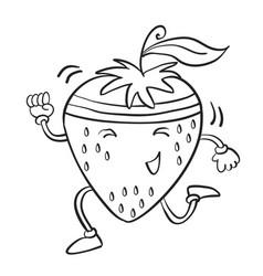 Running strawberry hand draw vector