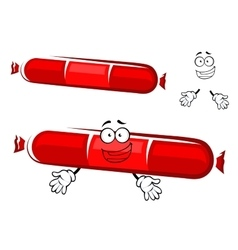 Sausage stick cartoon character with red label vector