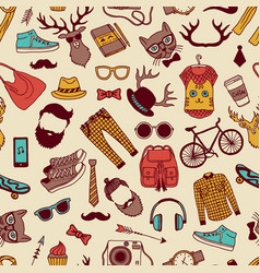 seamless pattern with specific elements of hipster vector image vector image