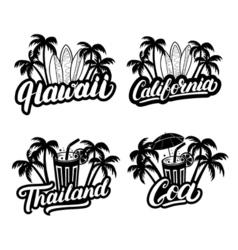 Set of hawaii california goa and thailand hand vector