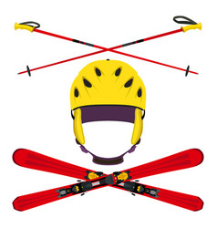 Set of helmet with ski poles skiing in flat style vector