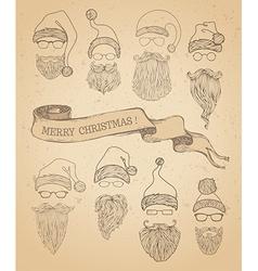 Set of retro santa hats beards moustache and vector