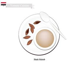 Shahi haleeb or yemen traditional milk tea vector