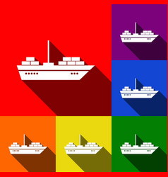 ship sign set of icons with vector image vector image