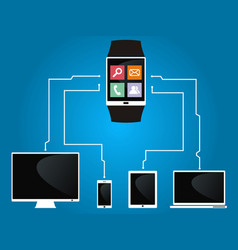Smart watch is connected to devices vector