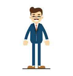 smiling adult manager character in flat design vector image vector image