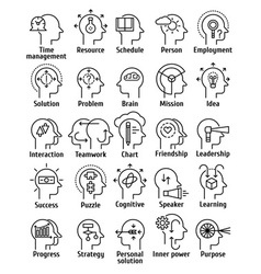 Stroke line pictogram icons set of human brain vector
