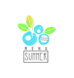 Summer menu logo element for healthy food and vector