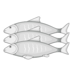 Three fish icon cartoon style vector